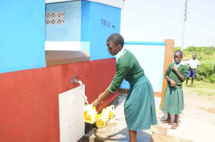 Hand washing taps at the toilets that Drop in the Bucket built for the Hope Junior Primary school in Soroti. Hygiene Sanitation Clean Water