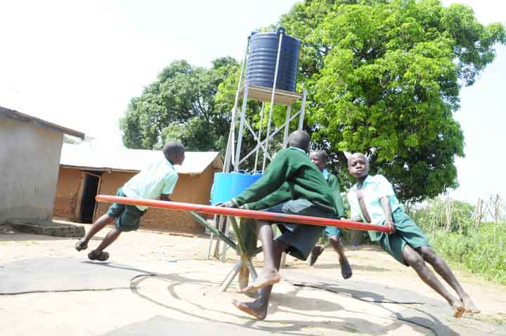 Roundabout pumps pump water when children play on them  Hygiene & Sanitation