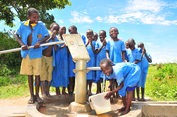 A completed well drilled by Drop in the Bucket in Uganda