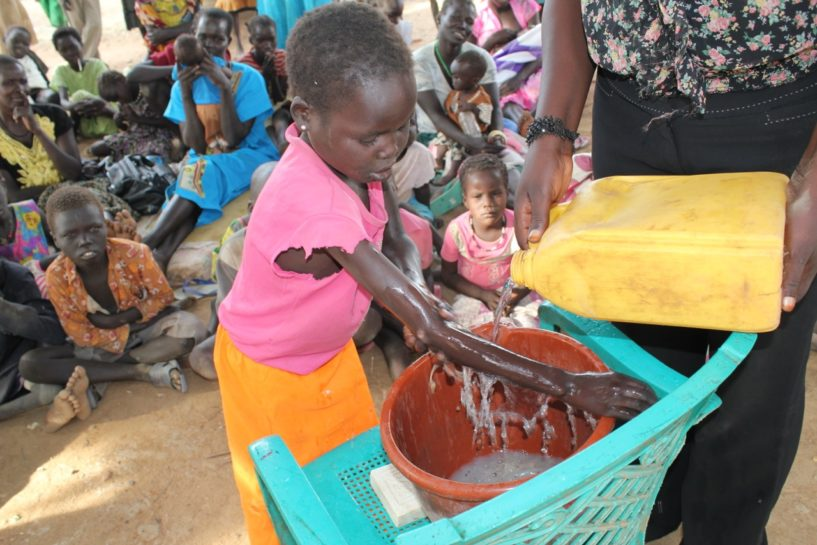 Drop in the Bucket teaching about the benefits of hand washing to refugee children in South Sudan